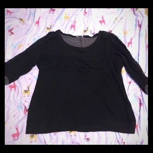 Black lace sleeve lace front sweater